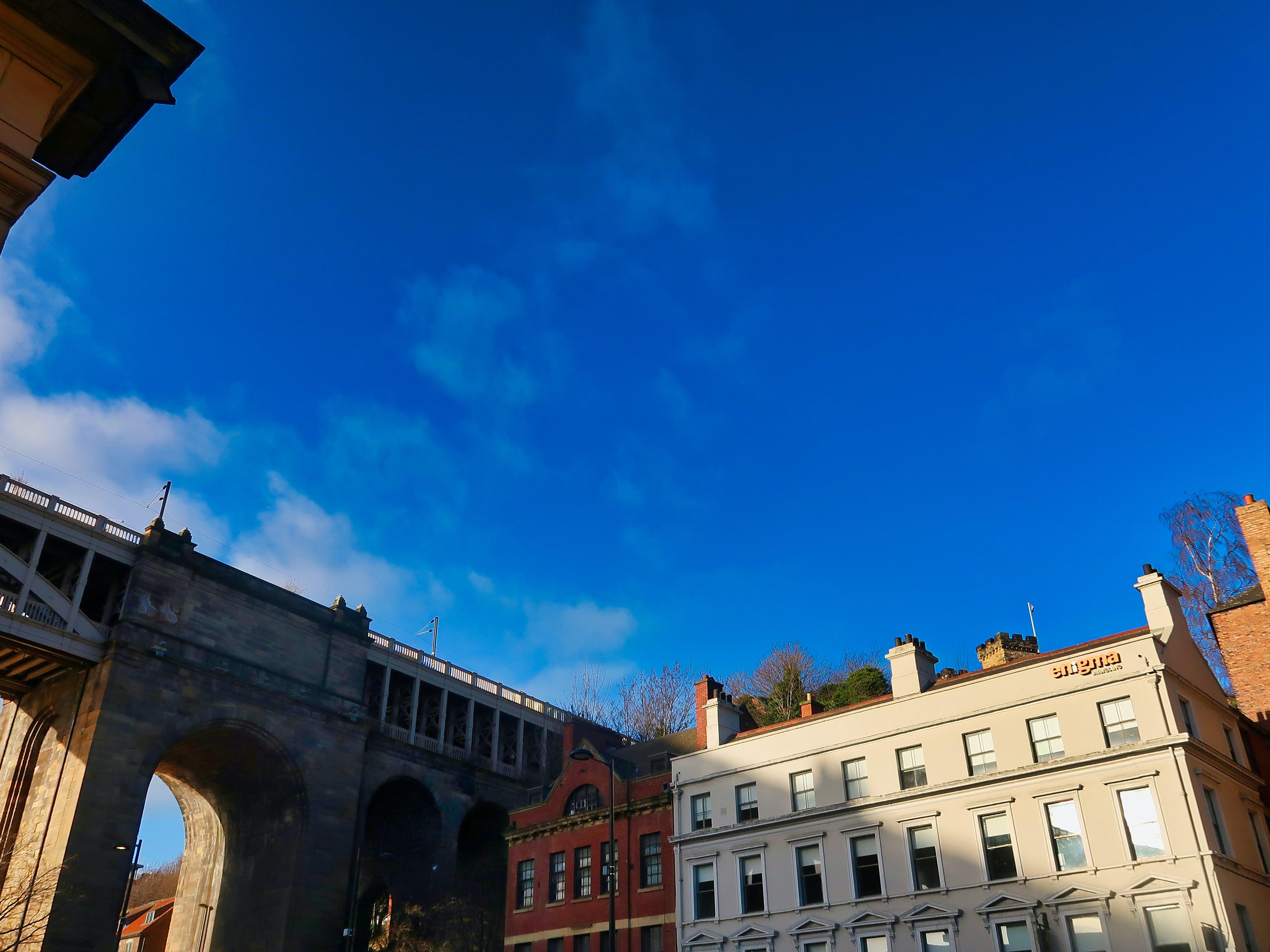 blue, bridge, buildings