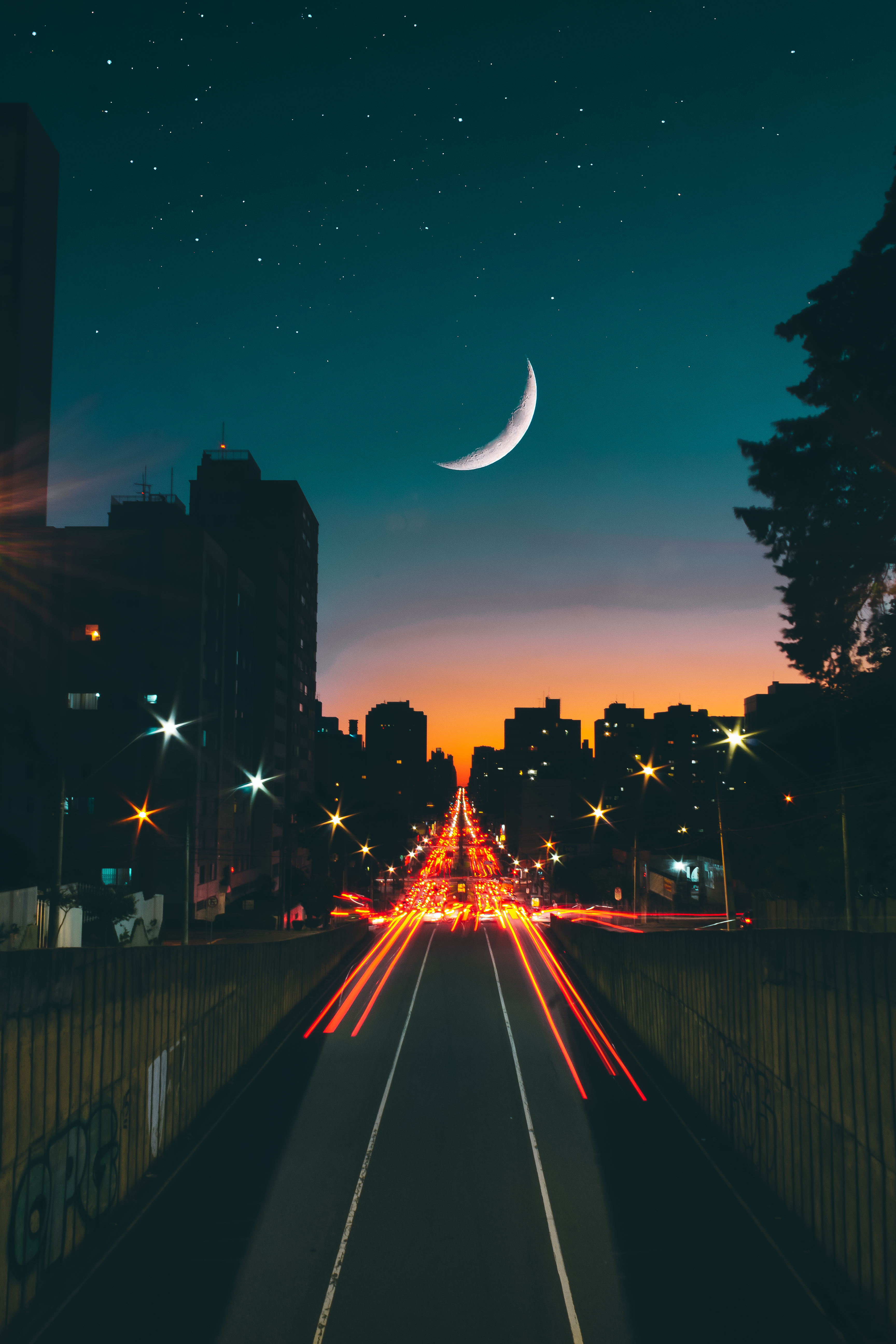 Night Sky over City Road