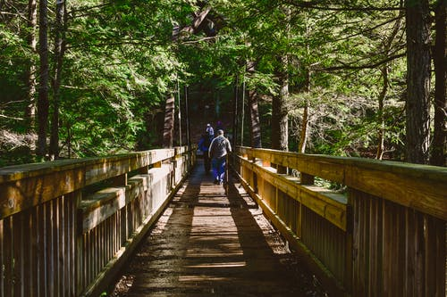 Two Persons Walking at Foot Bridge