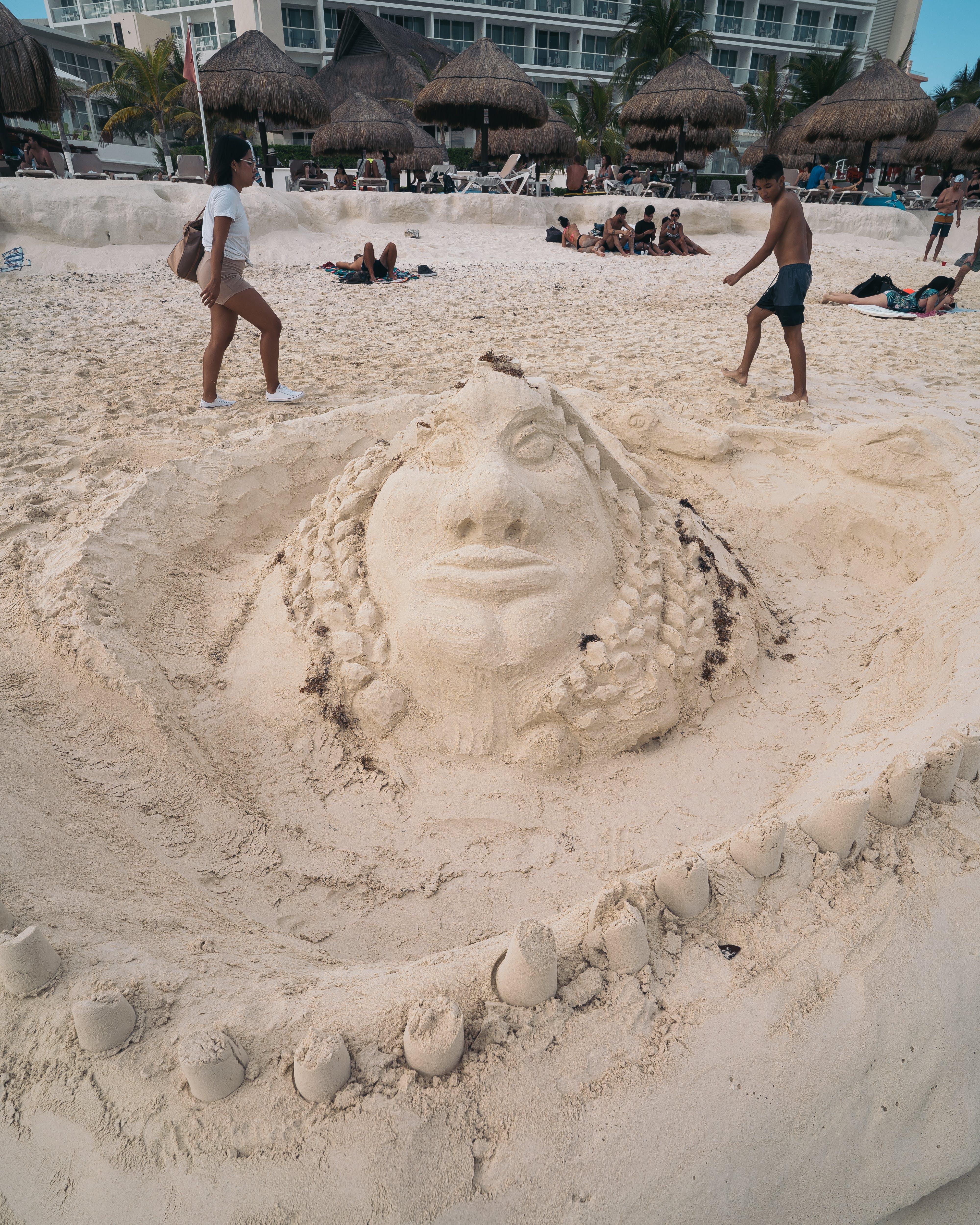 bờ biển, cát, nghệ thuật cát