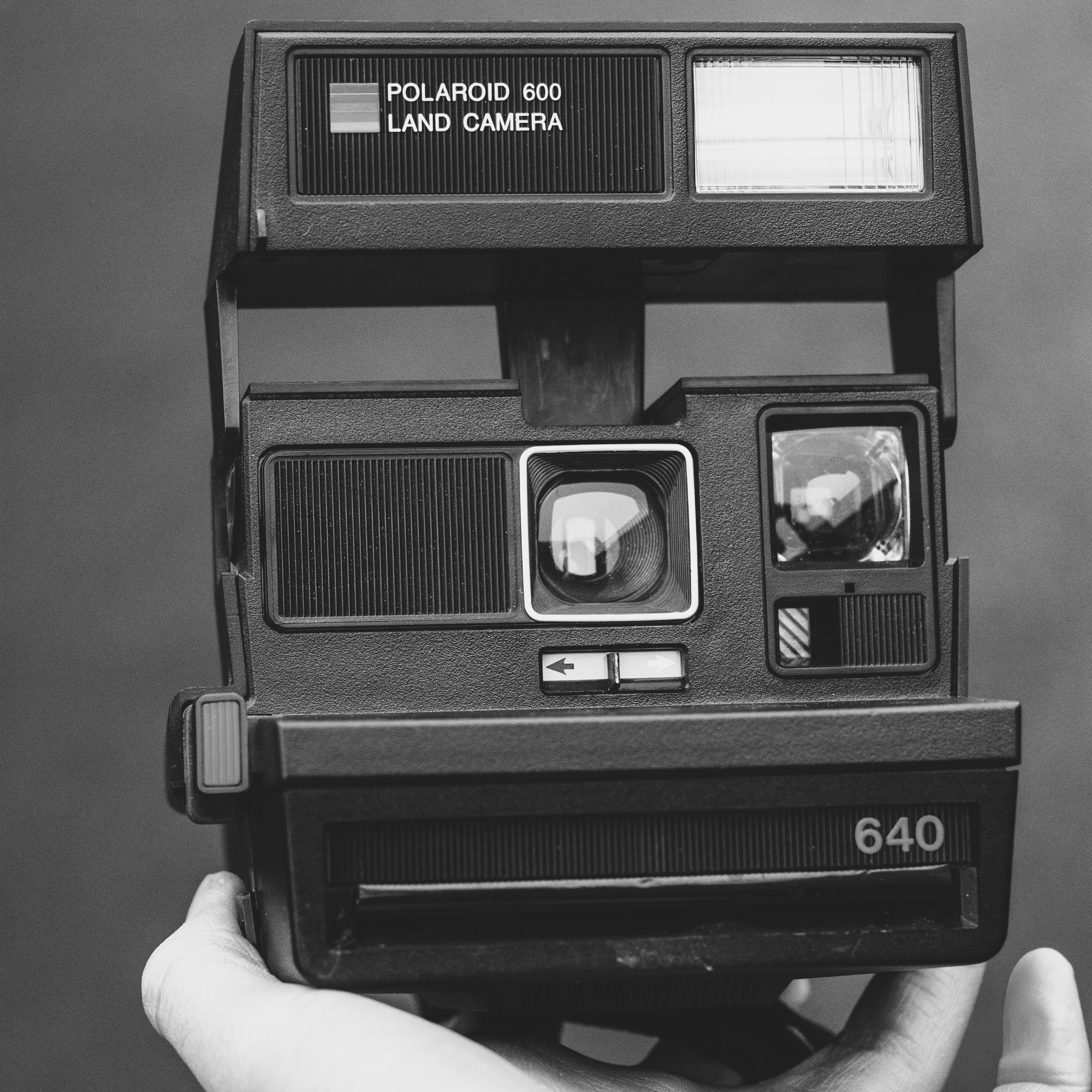 Polaroid Land Camera Grayscale Photo