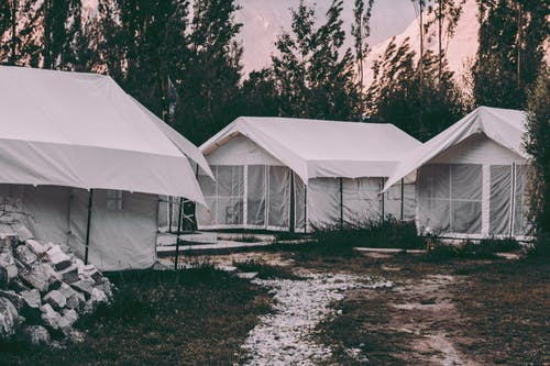 Three White Tents