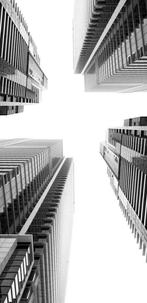 Free stock photo of architecture, black and white, buildings, high rise