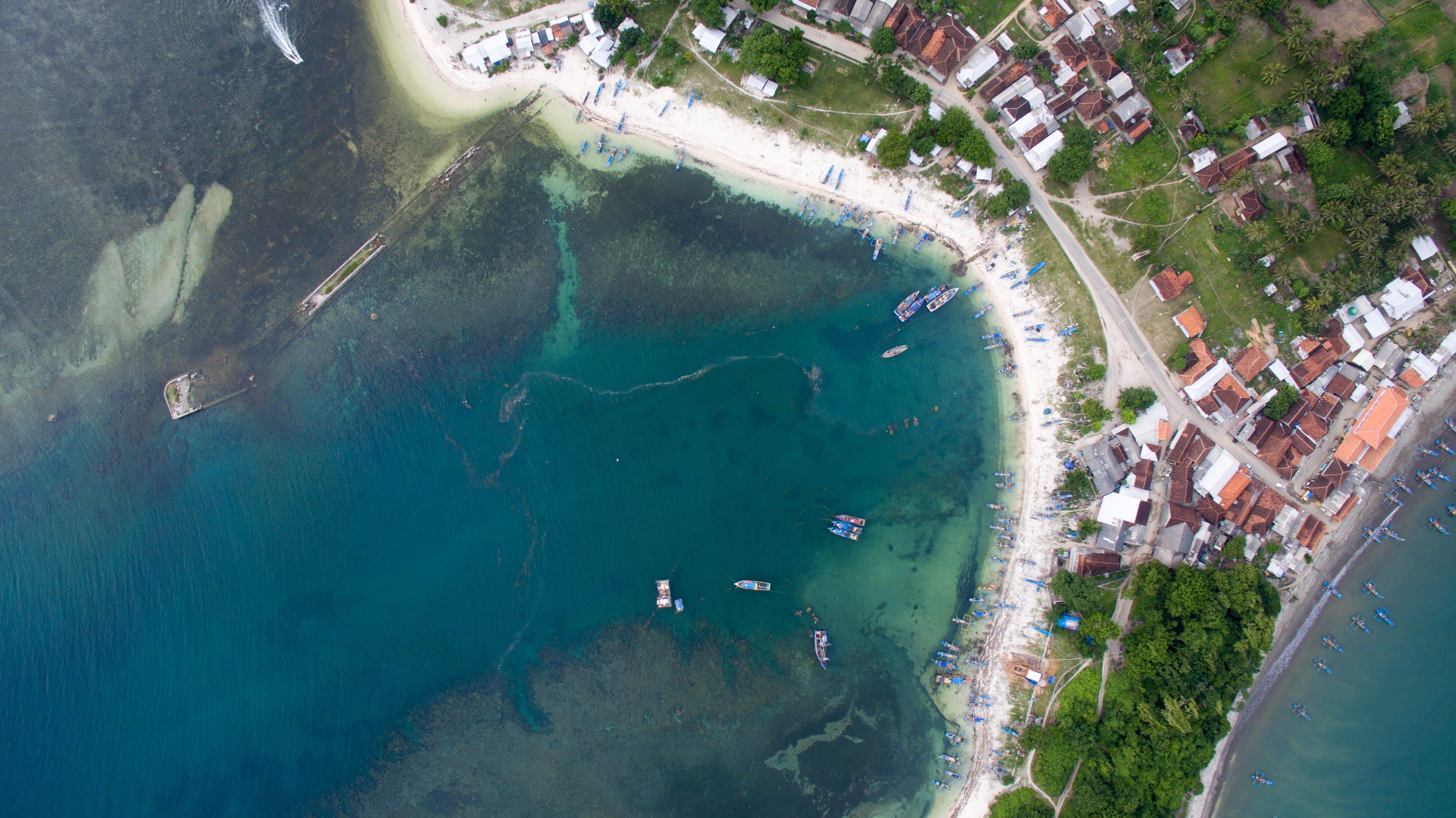 Free stock photo of aerial view, beach, bird's eye view, fisherman