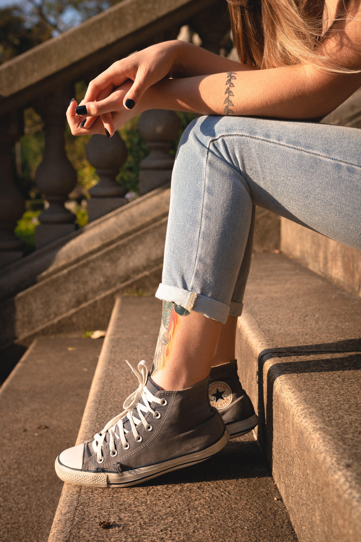 all star, girl, jeans