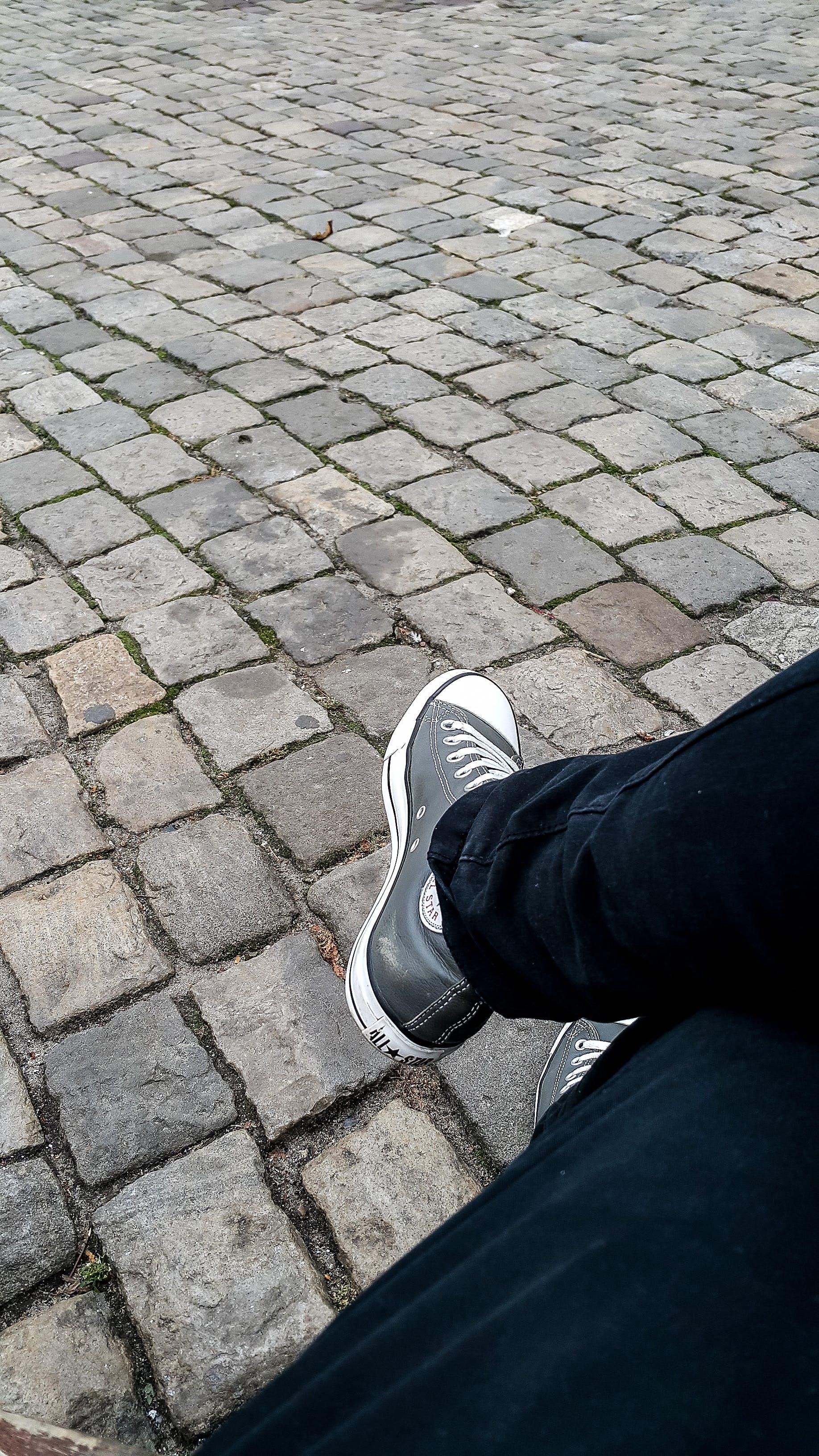 Free stock photo of block stone, keds, legs, stone-block pavement
