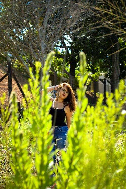 attraktiv, augen, bäume