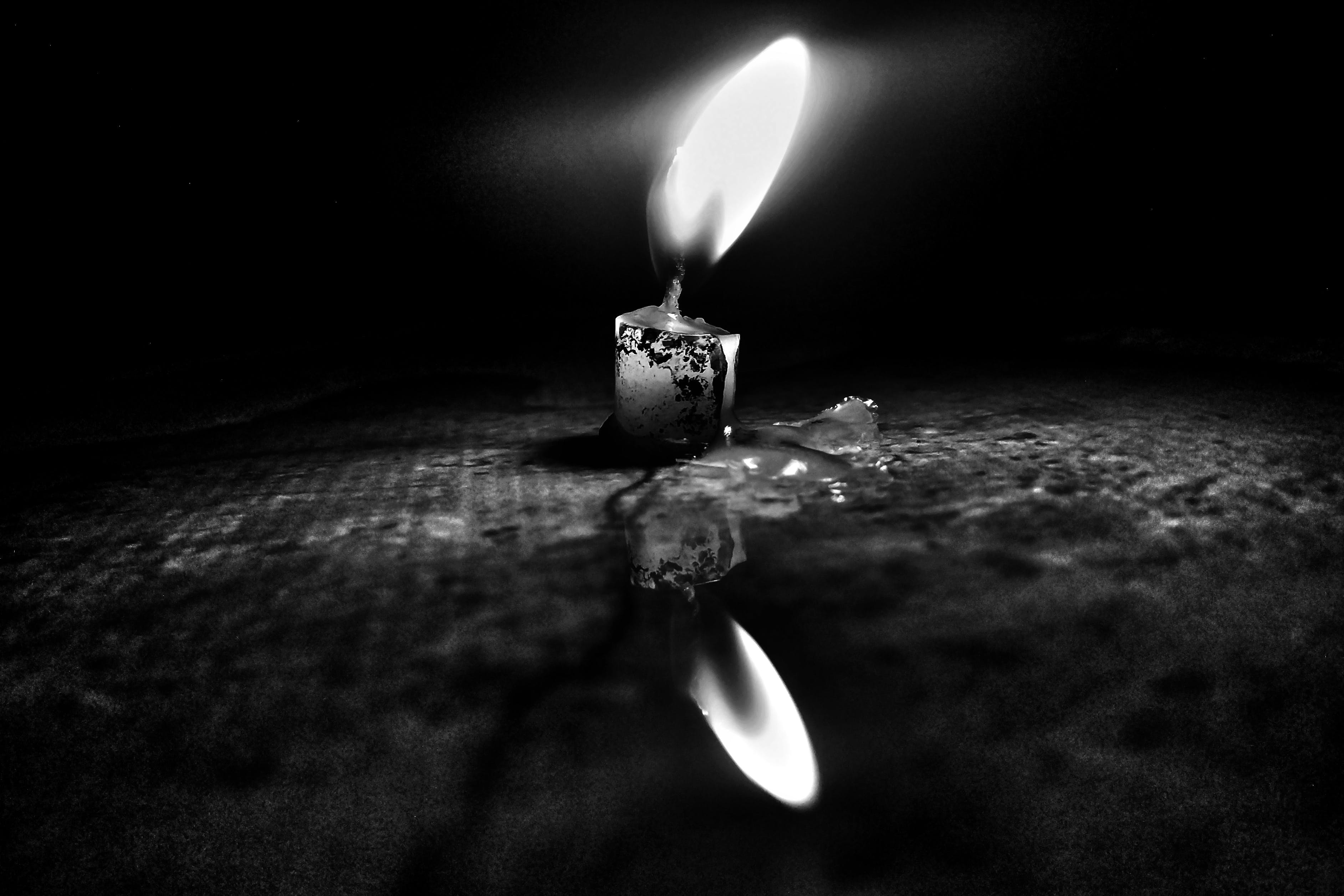 Free stock photo of black and white, black and-white, black background, candle