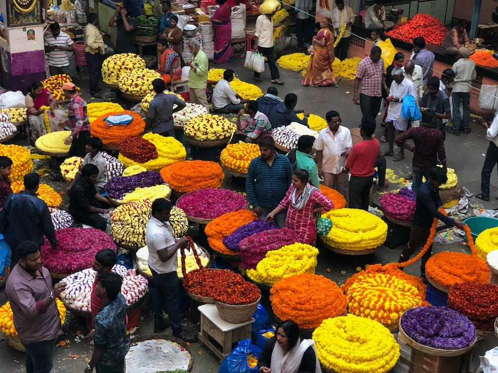 bangalore blomstermarked, bengaluru blomstermarkedet, blomst blomstring