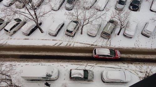 Gratis stockfoto met auto's, parkeerplaats, sneeuw, verkeer