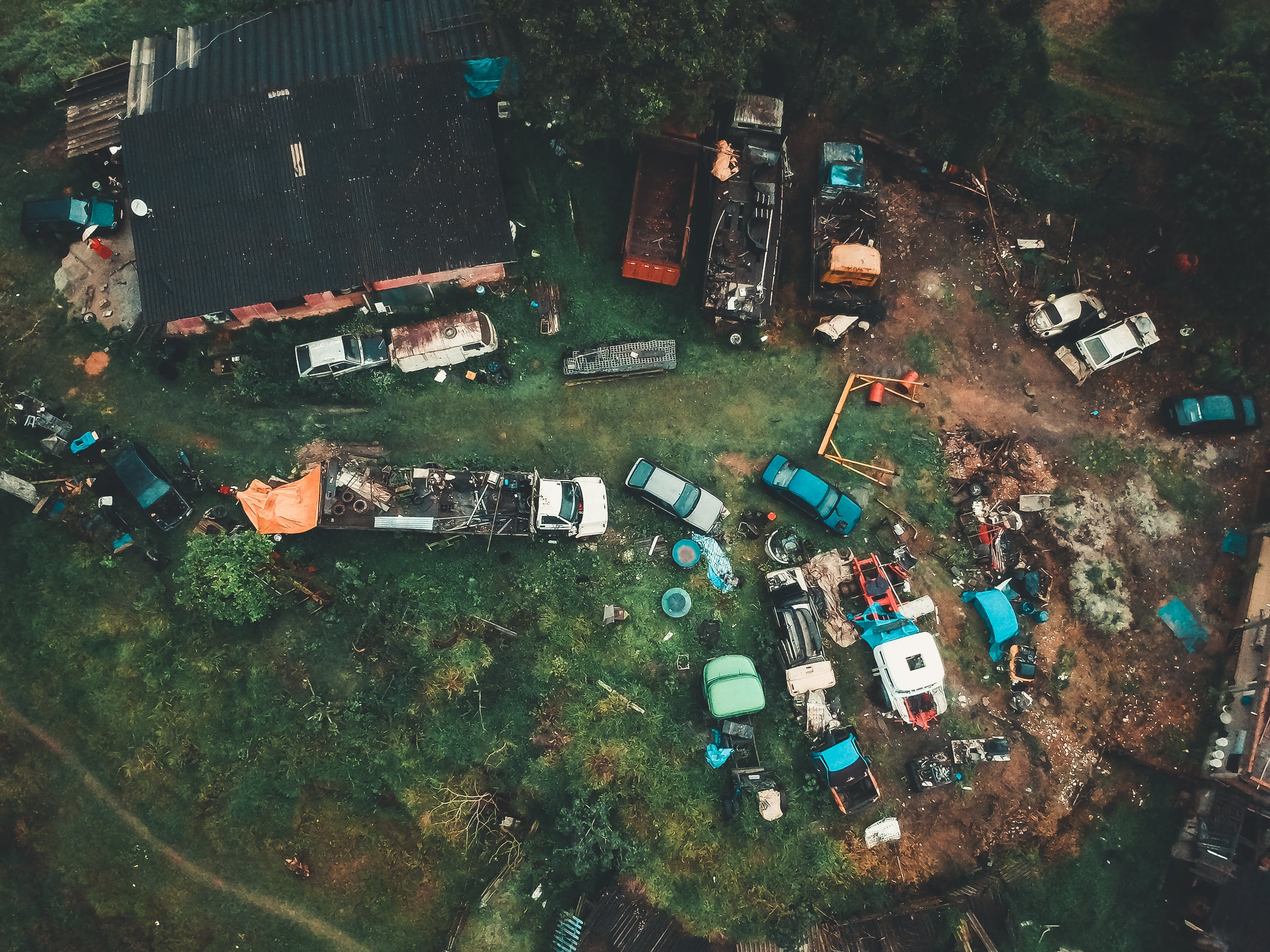 Assorted-color Junked Vehicles Aerial Photography