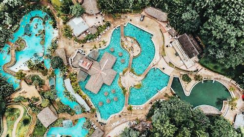 Imagine de stoc gratuită din de deasupra, fotografie din aer, piscină, stațiune