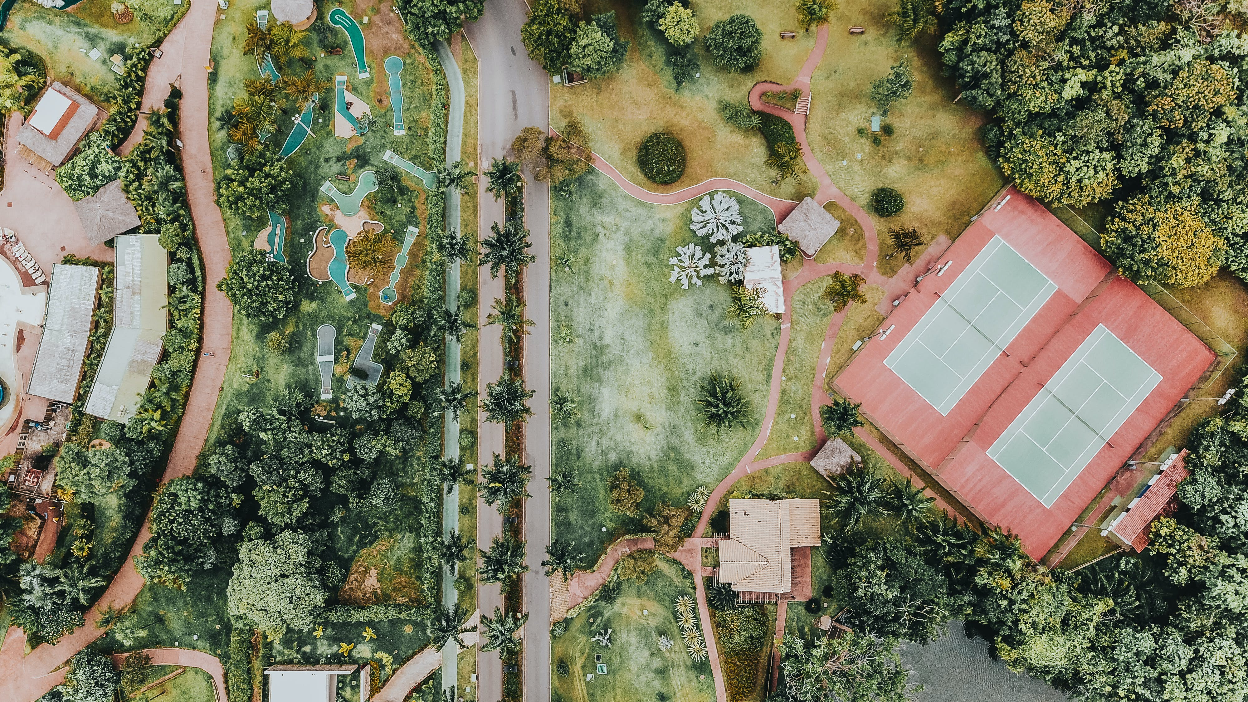 Aerial Photography of Brown House and Trees