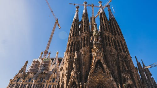 Low Angle Shot of the Construction of The Sagrada Familia