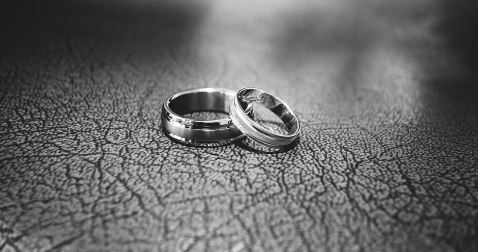 Close-up of Wedding Rings on Floor