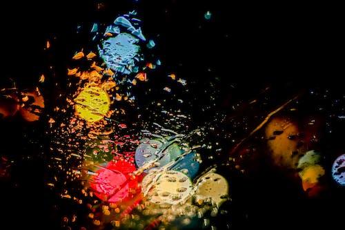 Free stock photo of colours, light, rain, water on class