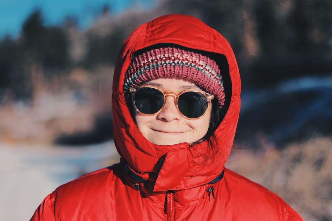 chaqueta, frío, gafas