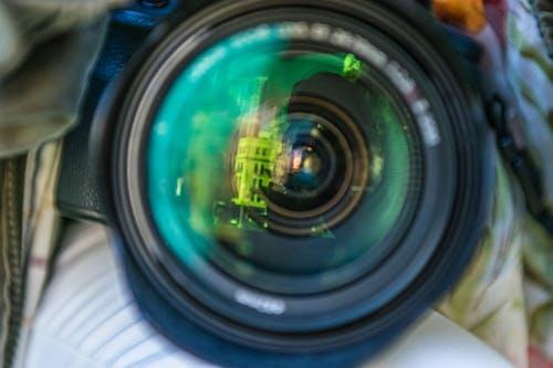 Free stock photo of camera, lens, reflection