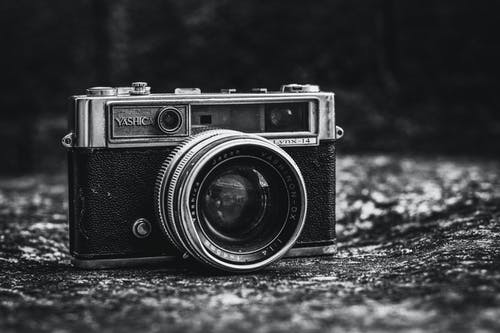 Monochrome Photo of Camera