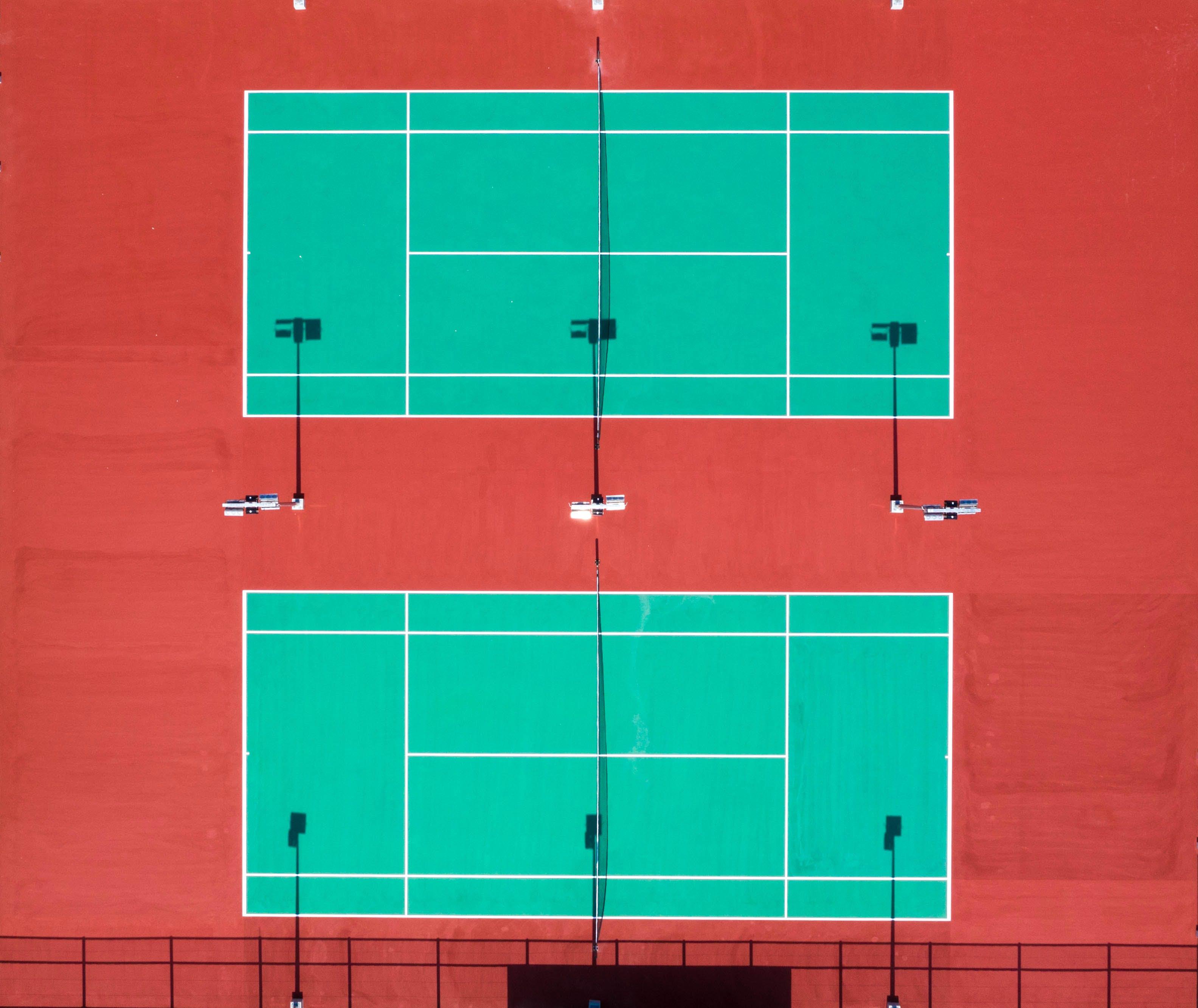 Foto profissional grátis de aerofotografia, corte de justiça, de cima, quadra de tênis