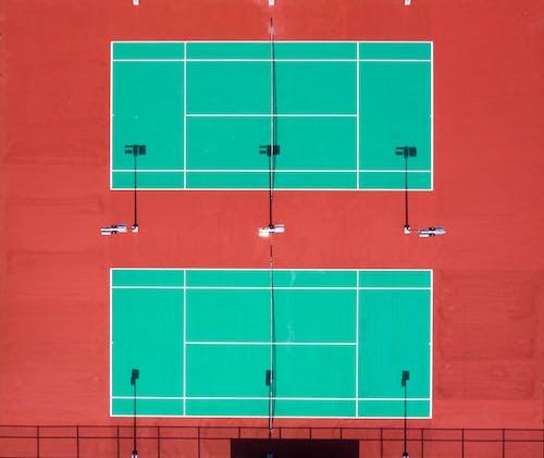 hava çekimi, kort, kuş bakışı, Tenis kortu içeren Ücretsiz stok fotoğraf