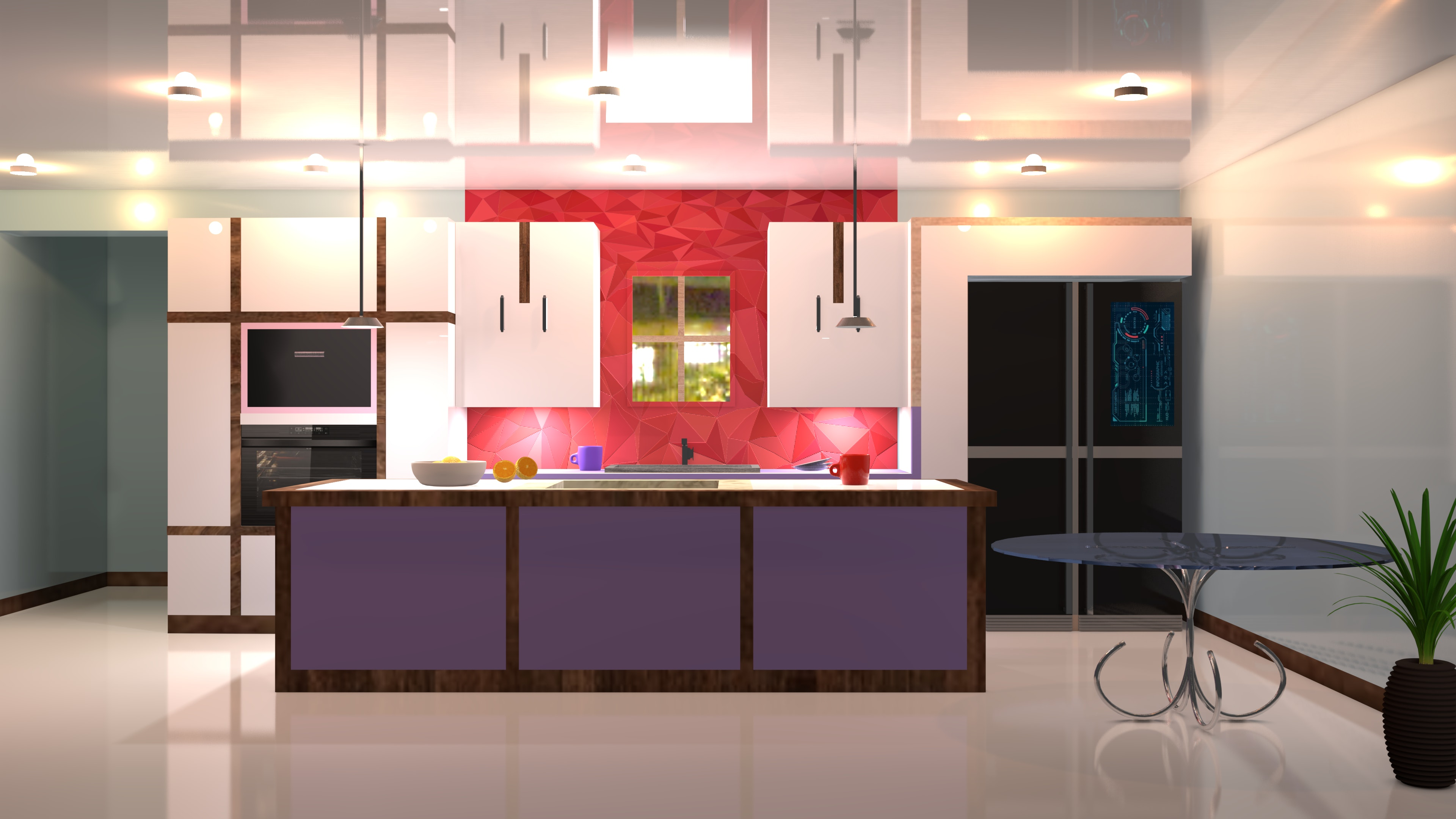 Photo gratuite de cuisine, maison moderne, modèle 3d