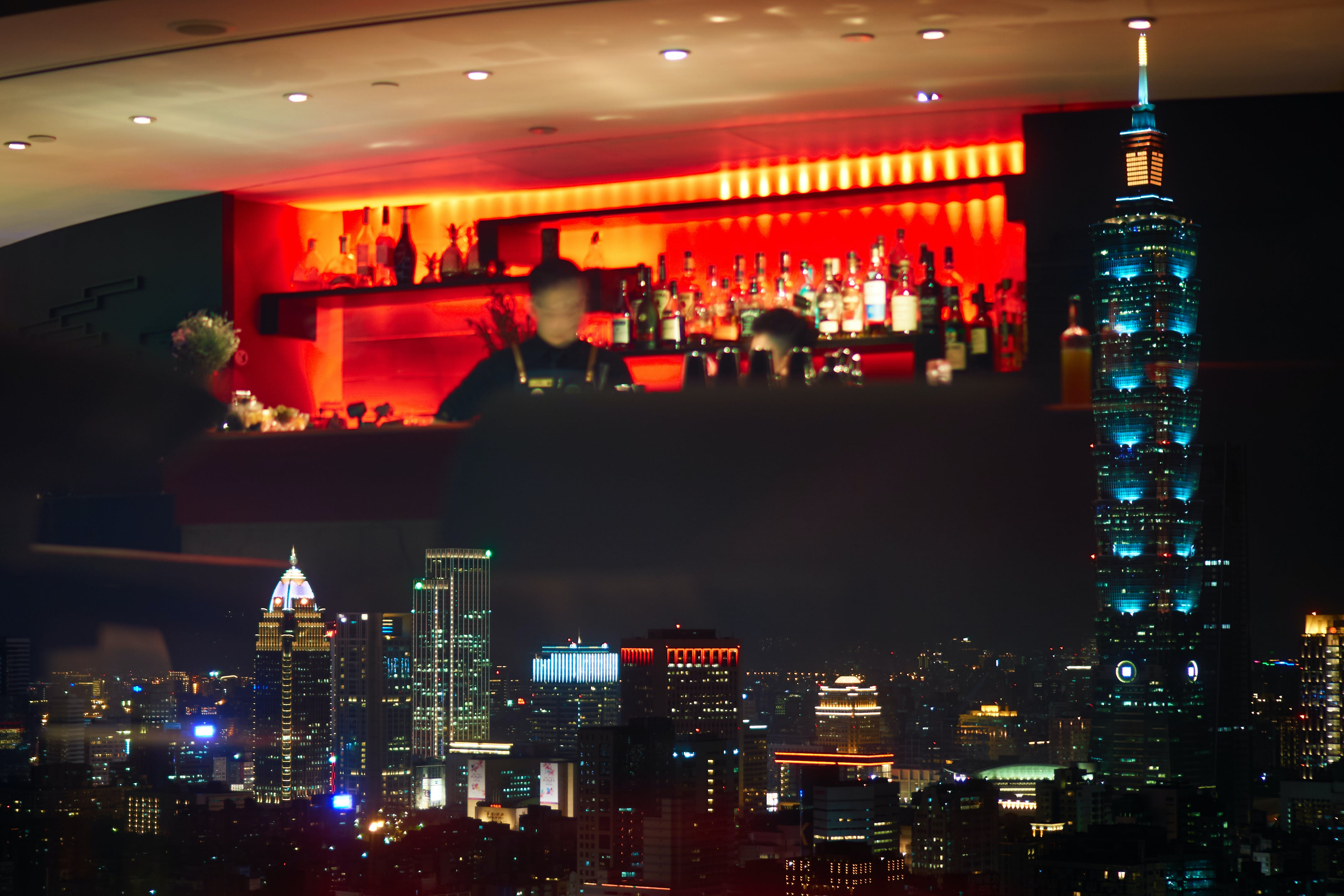 Free stock photo of bar, city view, reflection, Taipei 101