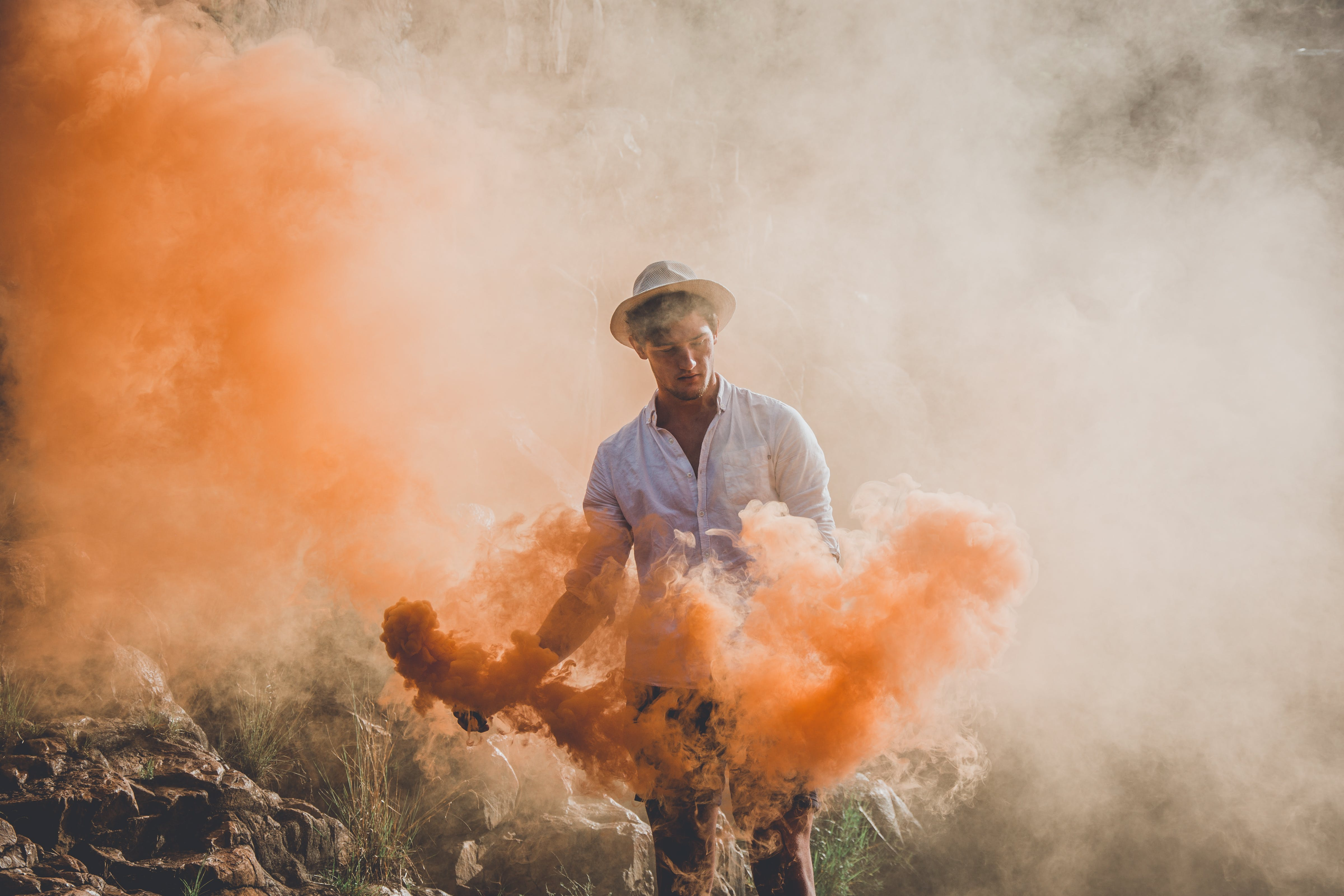 Man Playing Color Powders