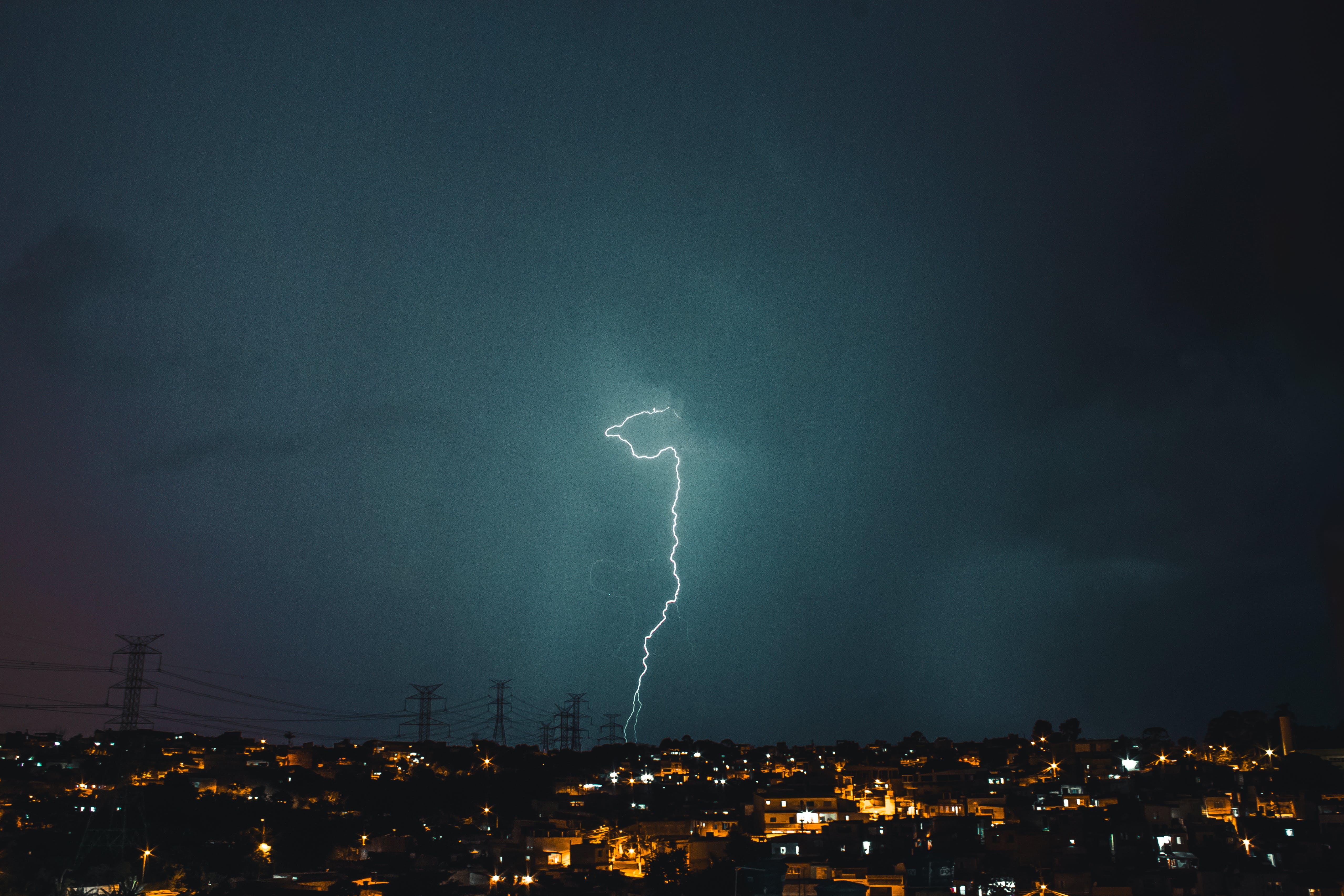 Lightning Struck on Utility Post at Night