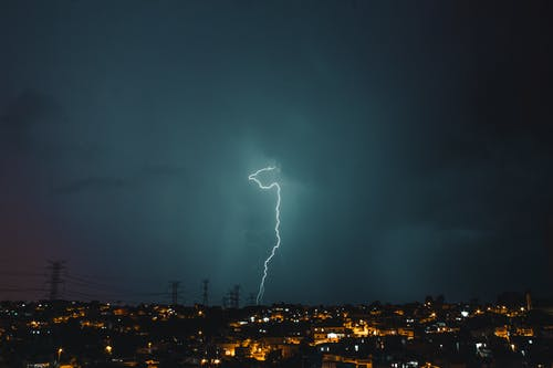 エネルギー, サンダー, シティ, シルエットの無料の写真素材