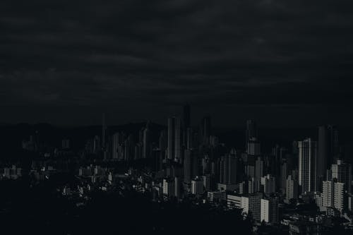 Grayscale Photo of Skyline