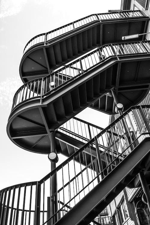 Free stock photo of architecture, blackandwhite, staircase