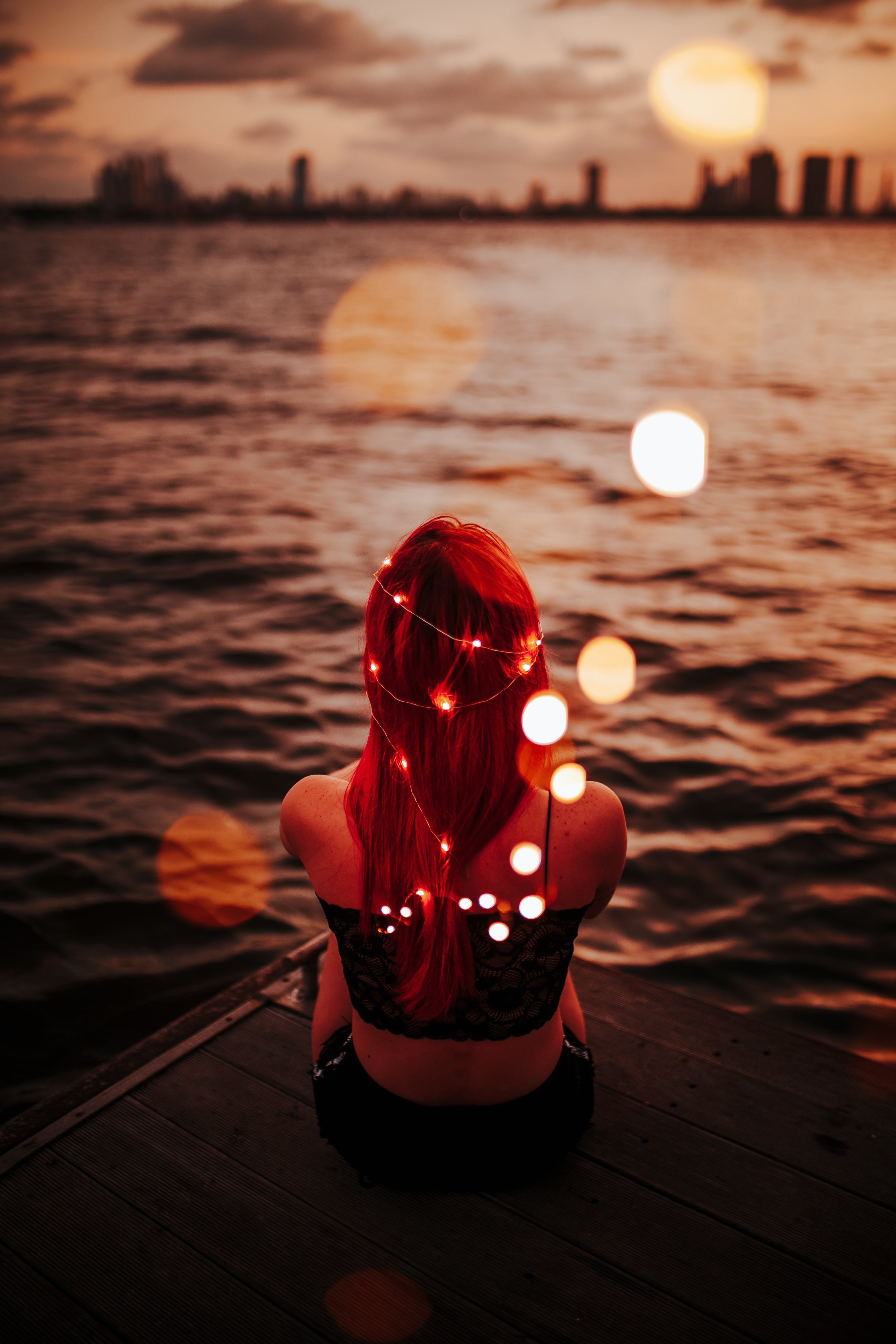 Woman With String Lights On Her Body