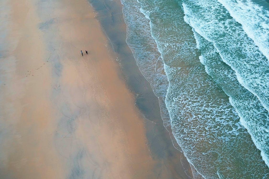 岸邊, 從上面, 海