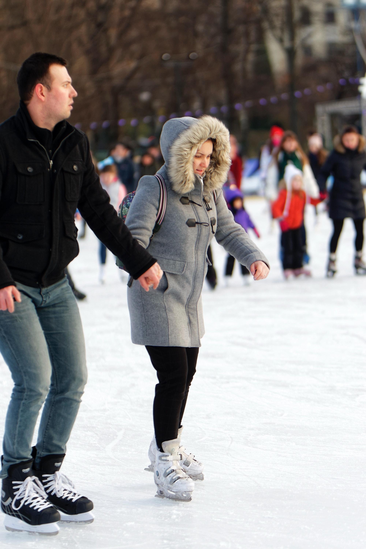 Free stock photo of ice skating rink, people skating, winter