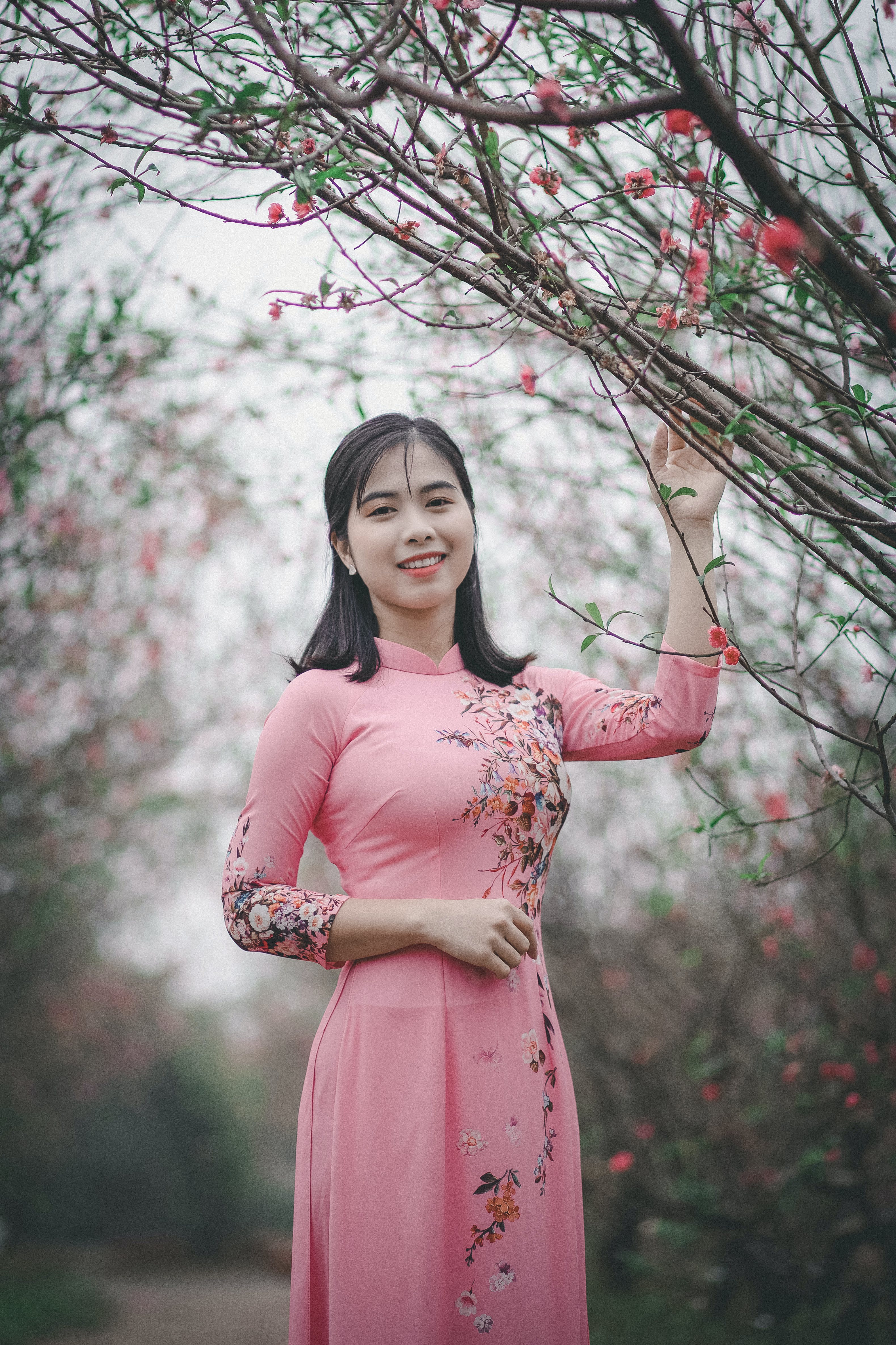 Women's Pink and Black Floral Dress