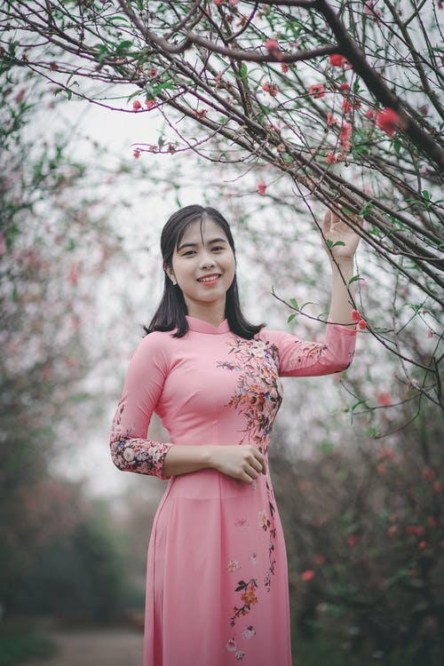 ansigtsudtryk, ao dai, asiatisk person
