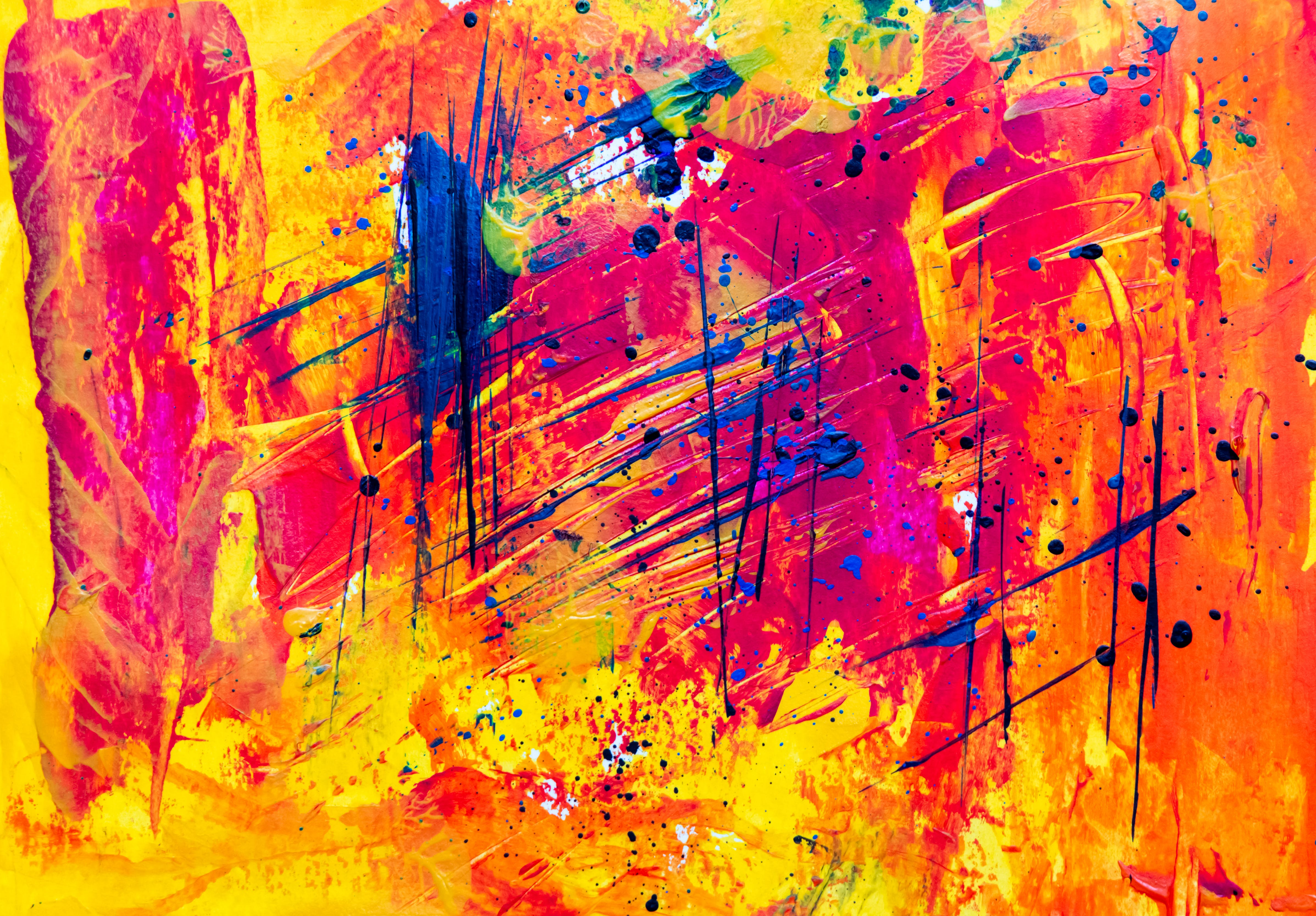 Yellow and Red Abstract Painting