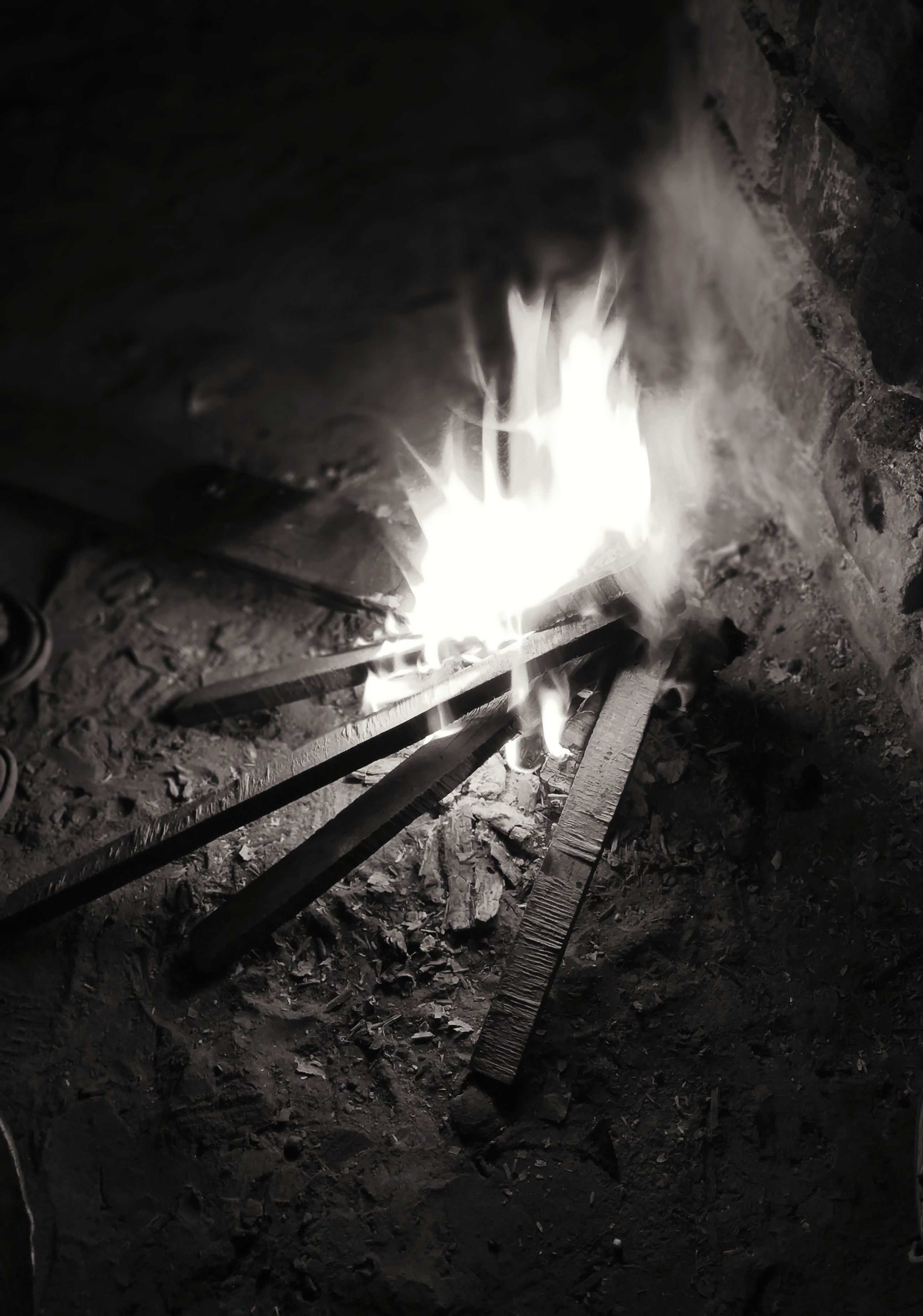 Free stock photo of activity, black and white, fire