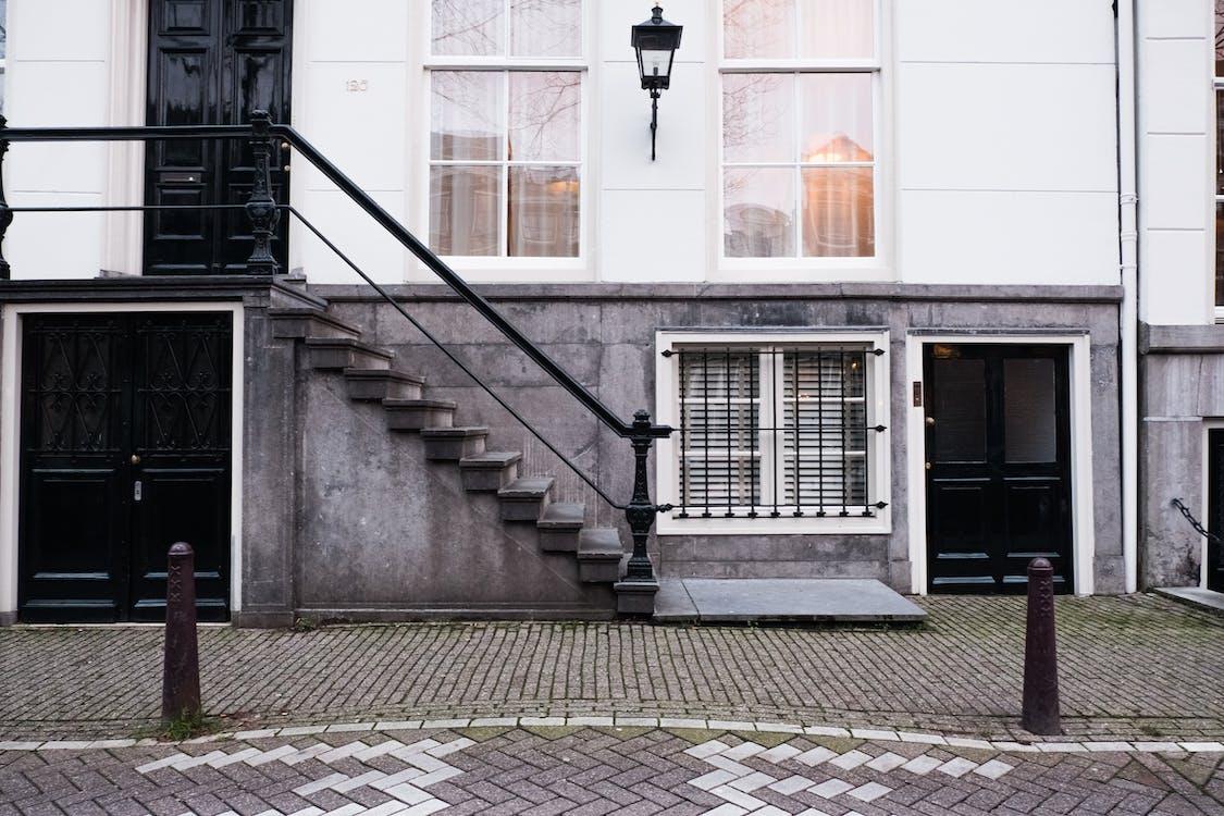 Amsterdam, budova, chodník