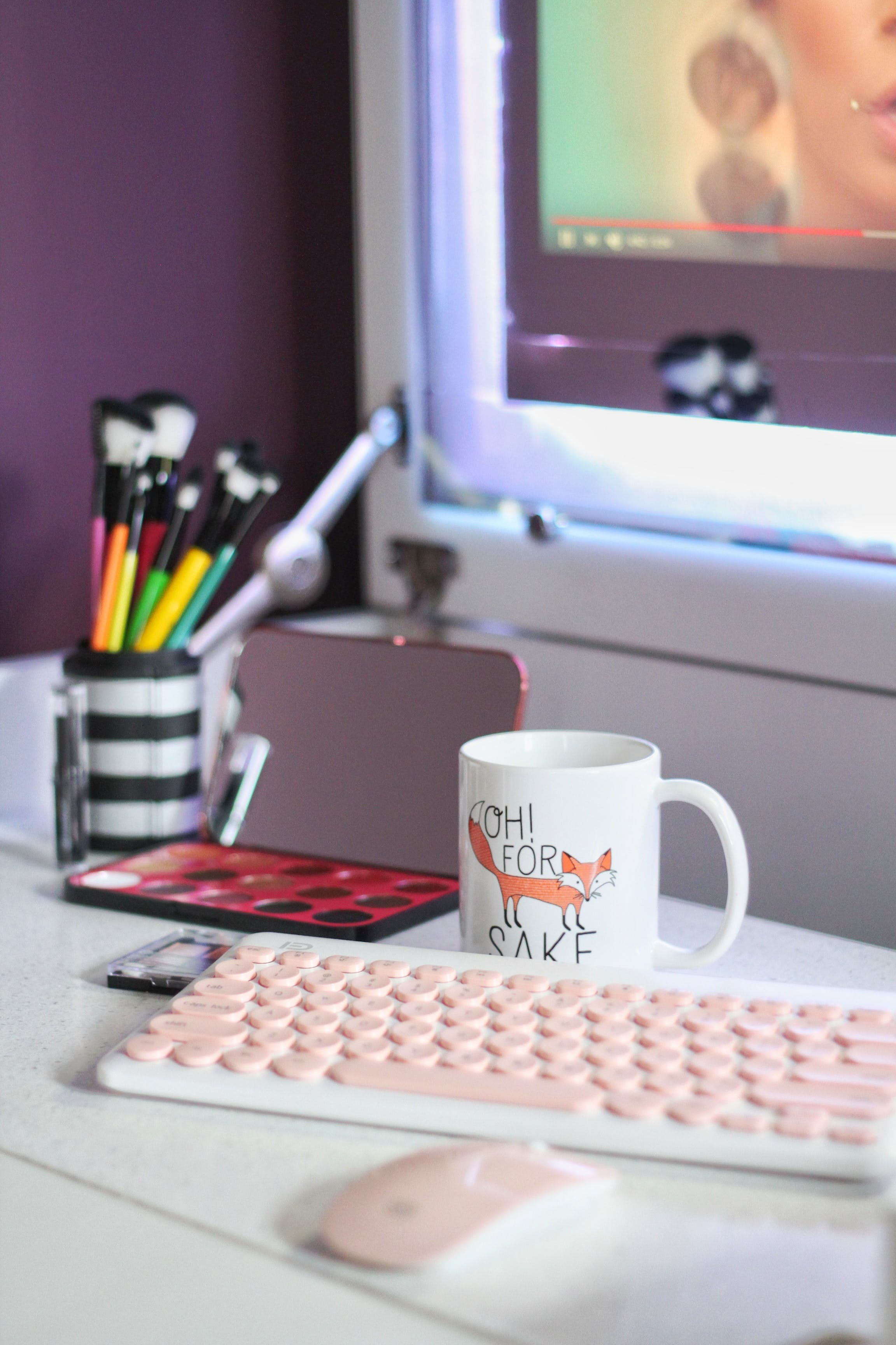 Cup Beside Keyboard