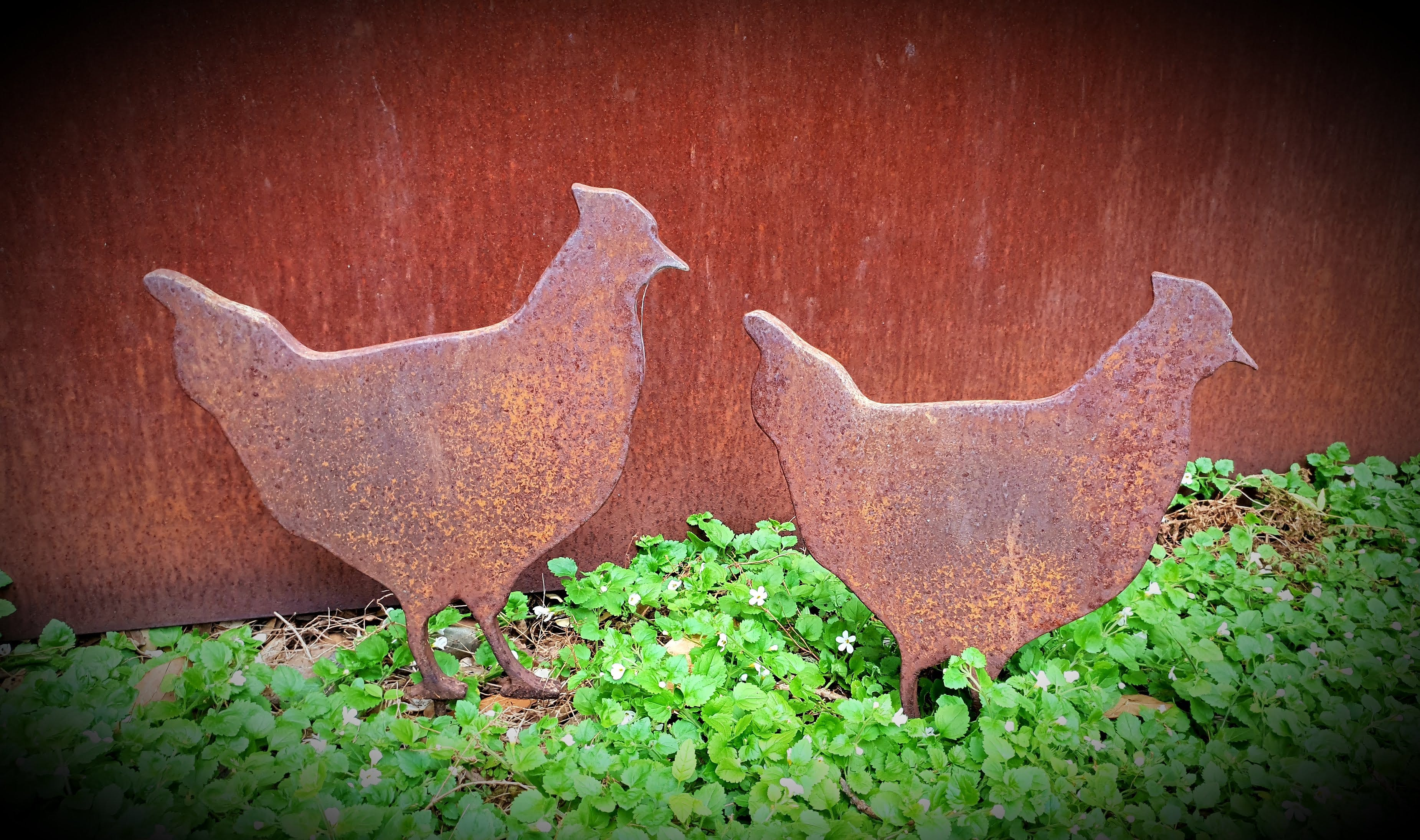 Free stock photo of chickens, Garden Ornaments, home garden, metal art
