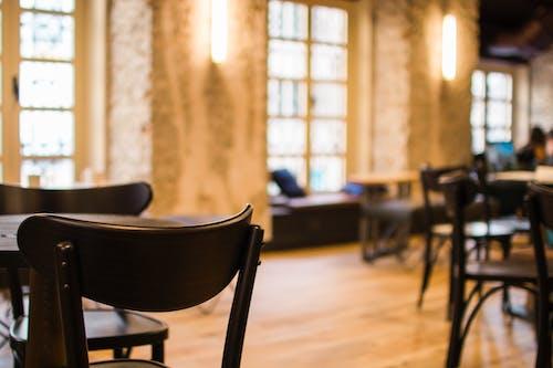 Základová fotografie zdarma na téma design interiéru, dřevěná podlaha, dřevěná židle, dřevěné stoly
