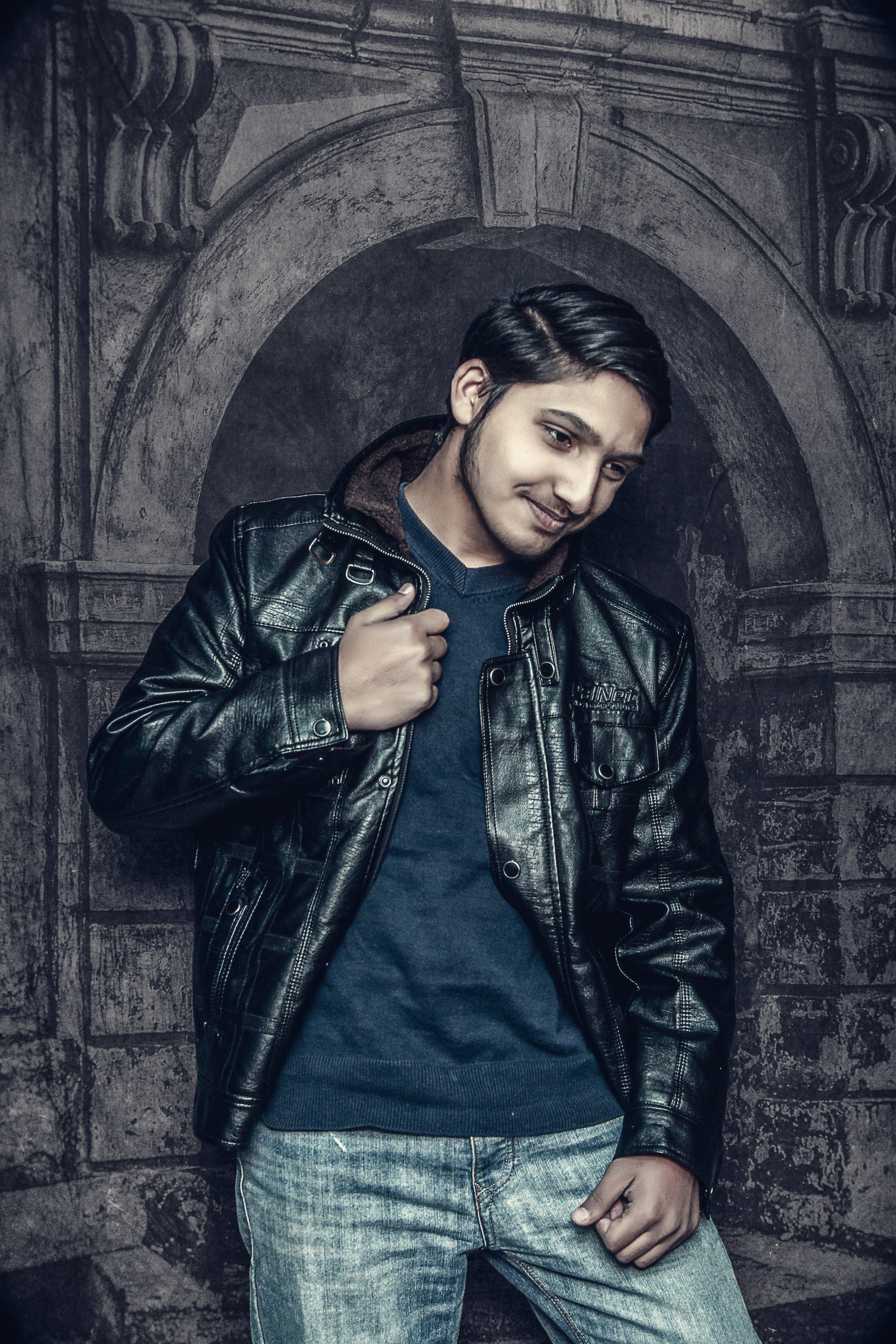Free stock photo of background, black, black jacket, gate