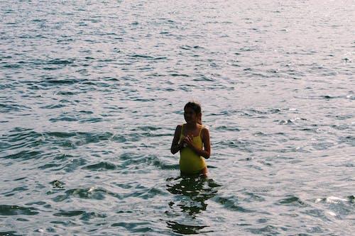Free stock photo of beach, blue, camera, girl