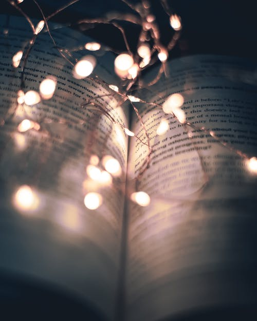 String Lights On A Book