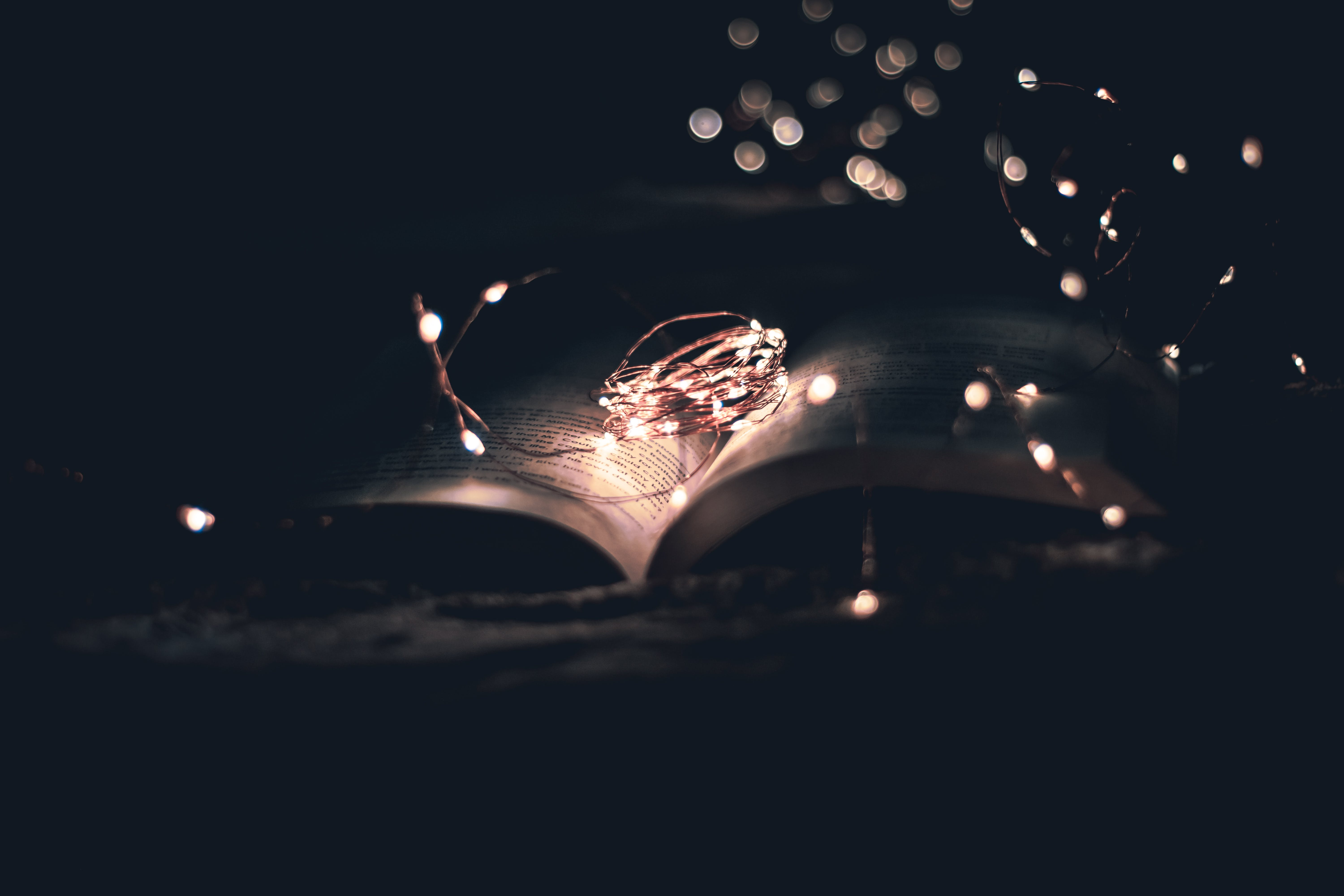 Open Book With String Lights