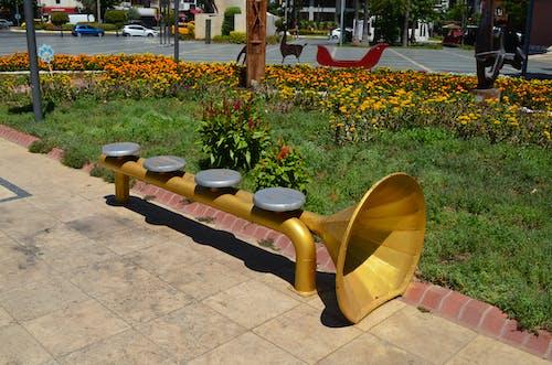 Fotobanka sbezplatnými fotkami na tému #bench #musicalinstrument #trumpet