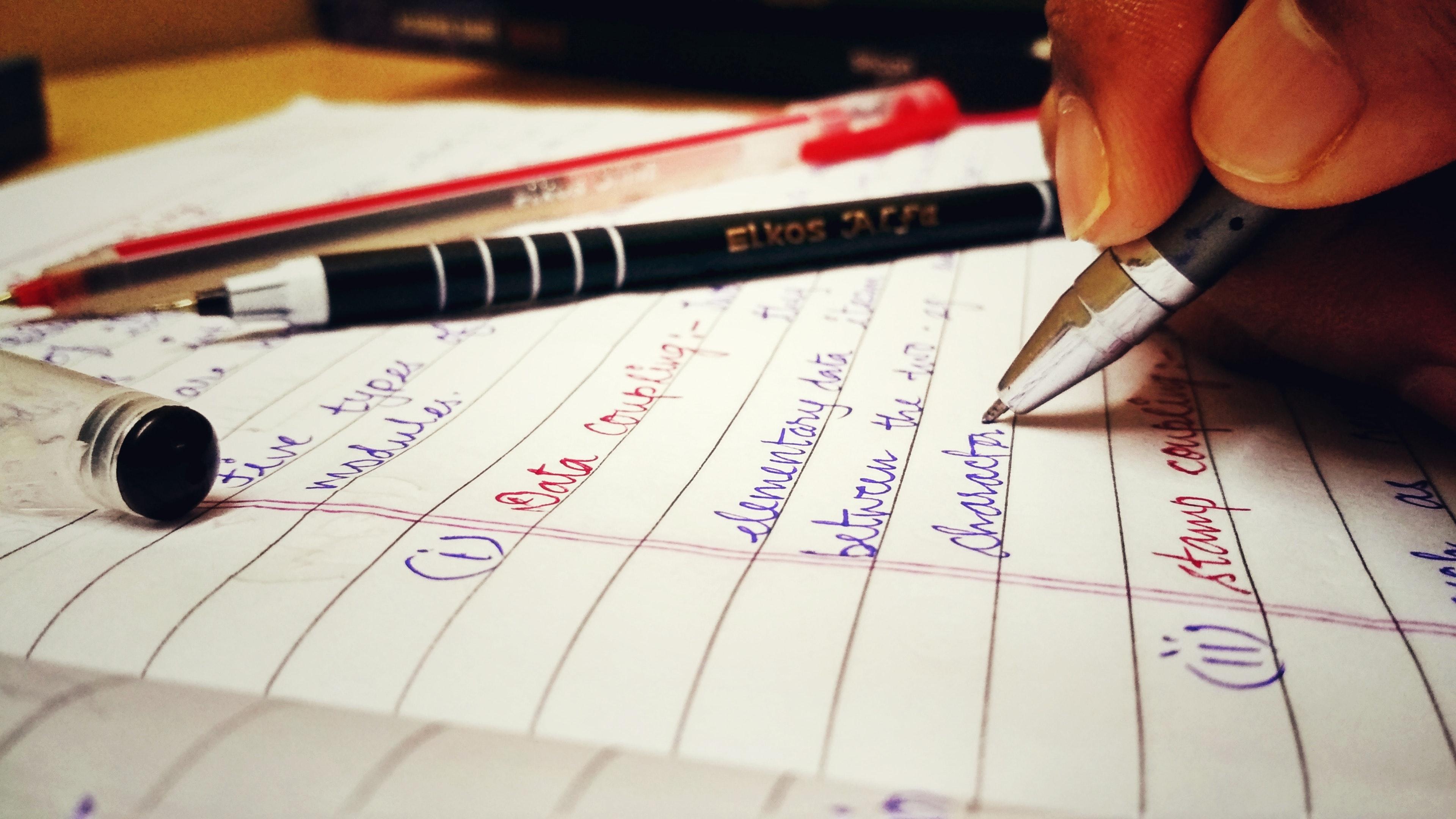 Free stock photo of ball point pen, copy, exam