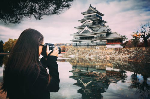 Female Photographer Taking Photo of a Temple